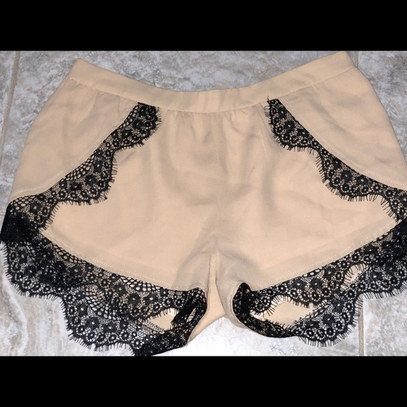 Women's sheer beige short with lace